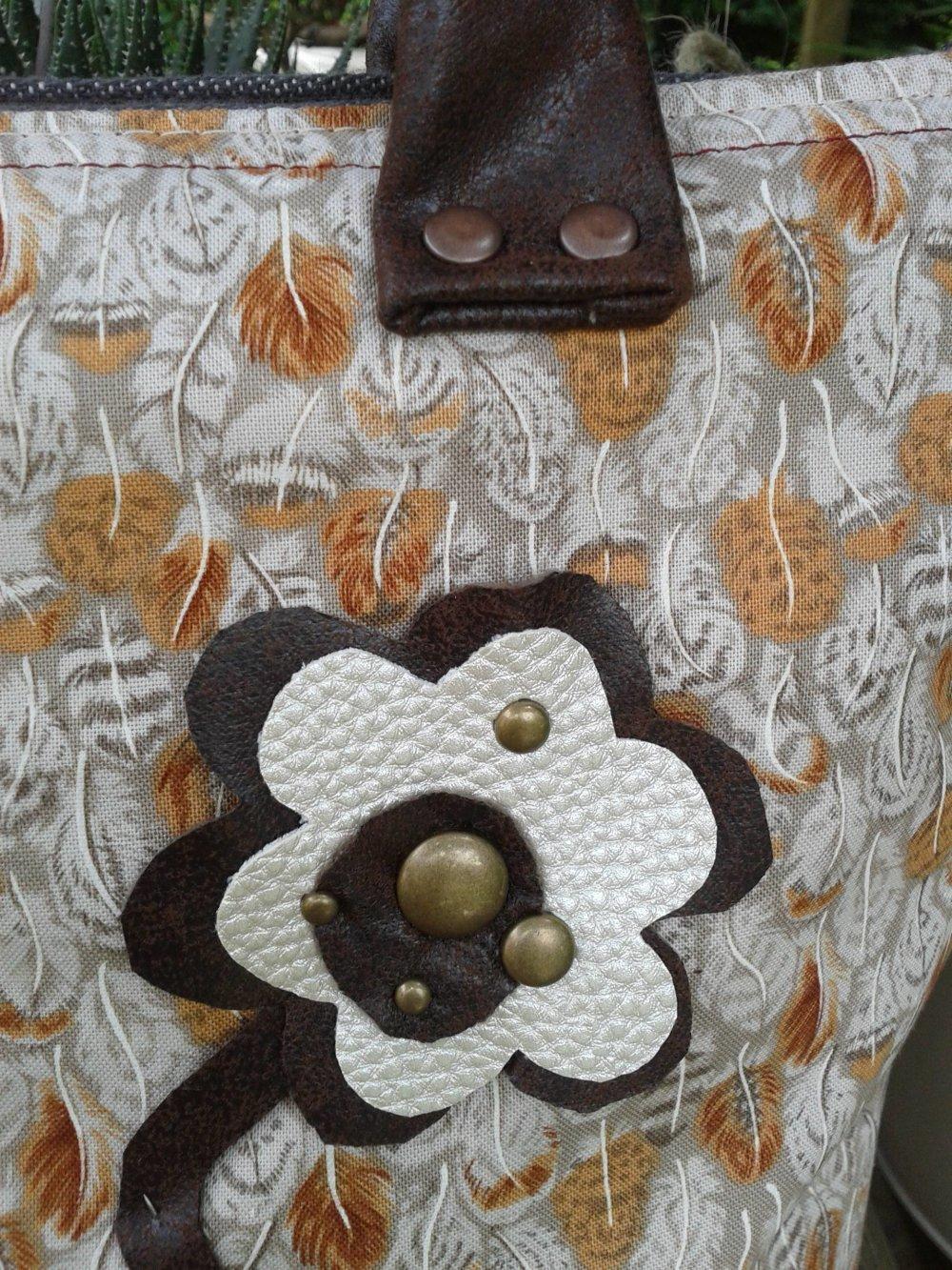 "mini cabas ""PLUME"" en tissu imprimé et simili cuir marron"