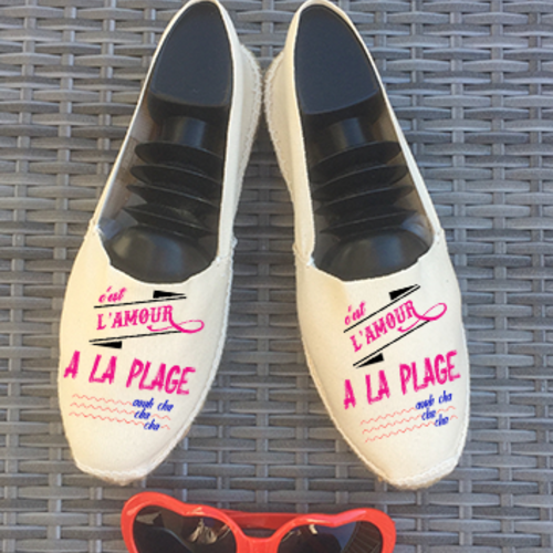 """Chaussures espadrilles """"l'amour à la plage..."""""""