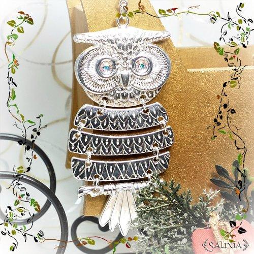 Collier pendentif hibou, yeux cabochons en cristal aurore boréale (#c135)