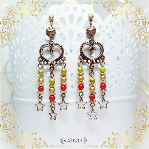 Boucles d'oreilles cuivrées coeurs étoilés (#bo458)