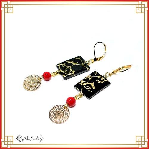 Boucles d'oreilles coquillages laqués noir motifs dorés, perles laquées rouges, dormeuses laiton plaqué or (#bo459)