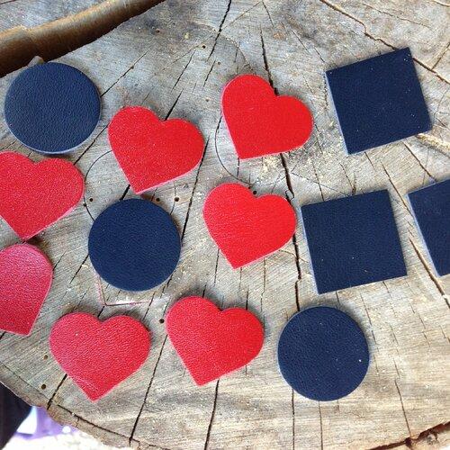 Cuir création bijoux cuir, coeur en cuir, carré en cuir, rond en cuir - vendu par lot de 4