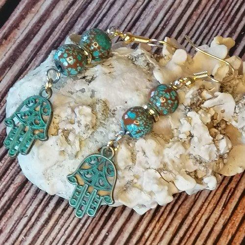 Boucles d'oreilles perles couleur bronze