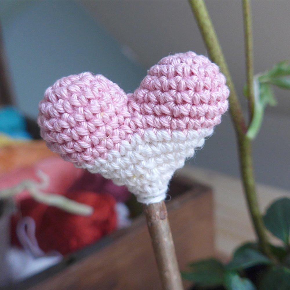Coeur à planter crème / vieux rose