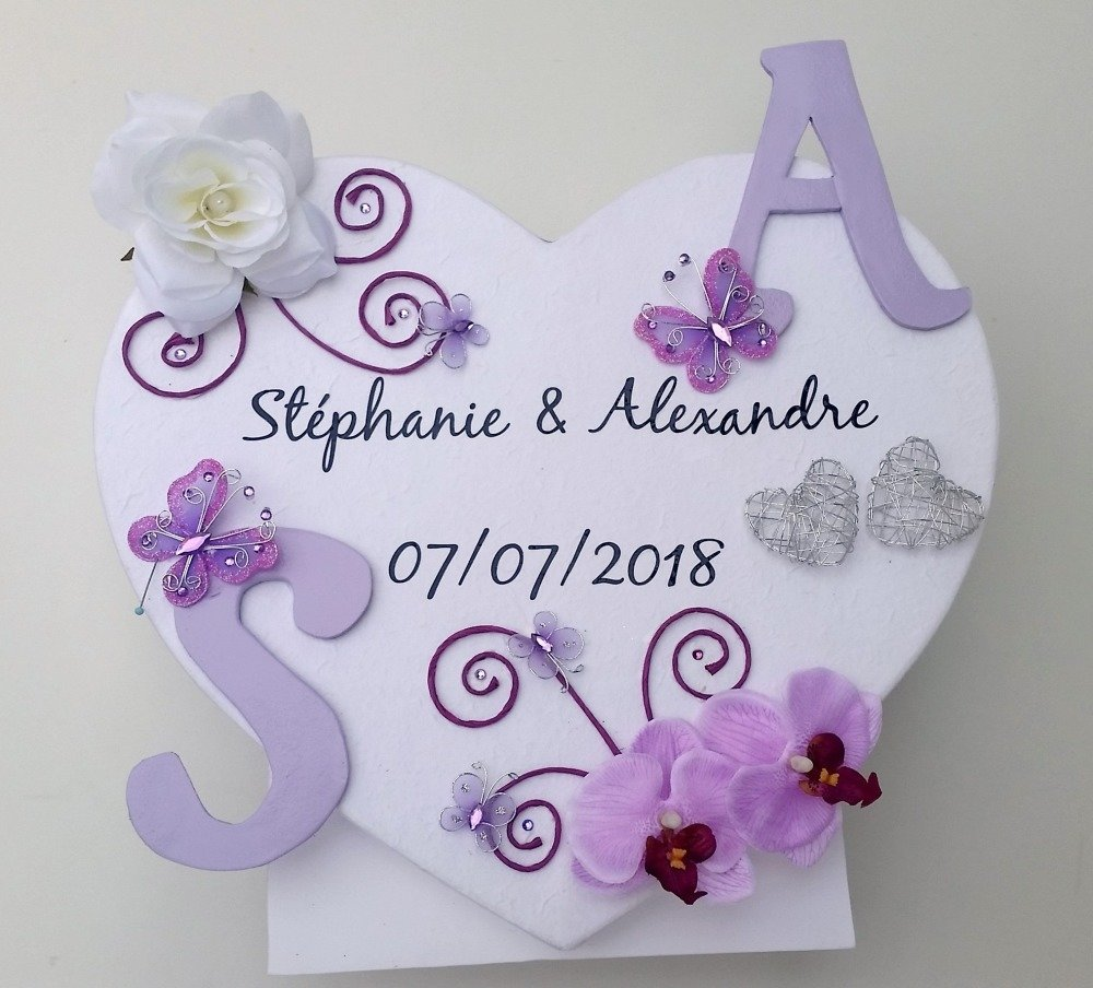 Urne cœur debout violet, décoration mariage, parme, personnalisé, romantique, chic, papillon, cœur, fleur, Saperlipopette Création