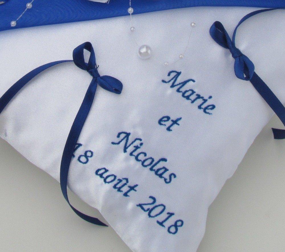 Coussin porte alliance, accessoire mariage, bleu marine, blanc, orchidée, perles, personnalisé, Saperlipopette Création