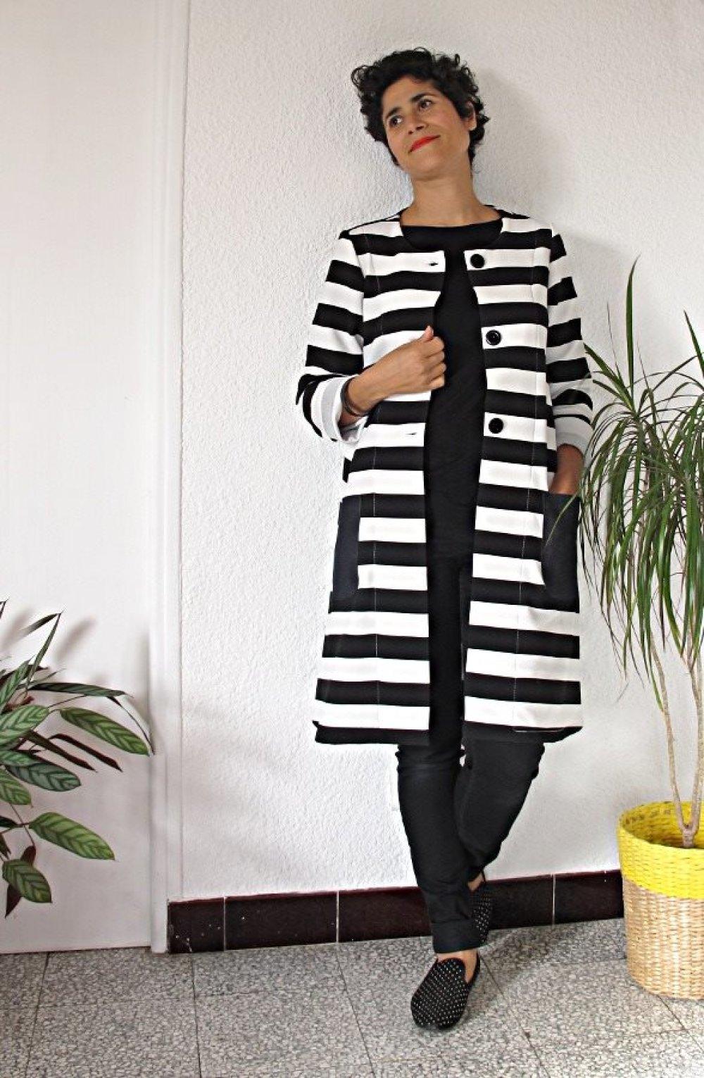 trench femme en jersey rayures noir & blanc