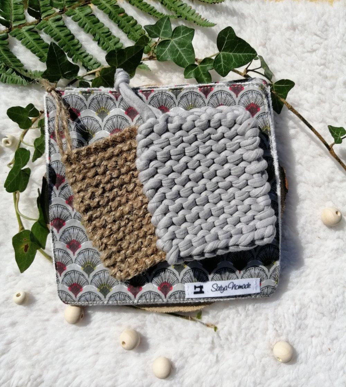 Kit entretien ZD : lingettes lavables motifs graphiques + tawashi gris & gratte-gratte