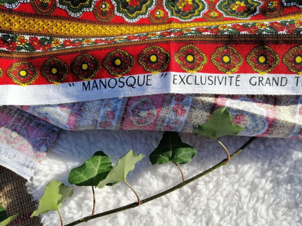 Lot de 3 sacs à vrac zéro déchet de 3 tailles  upcycling vintage motif manosque
