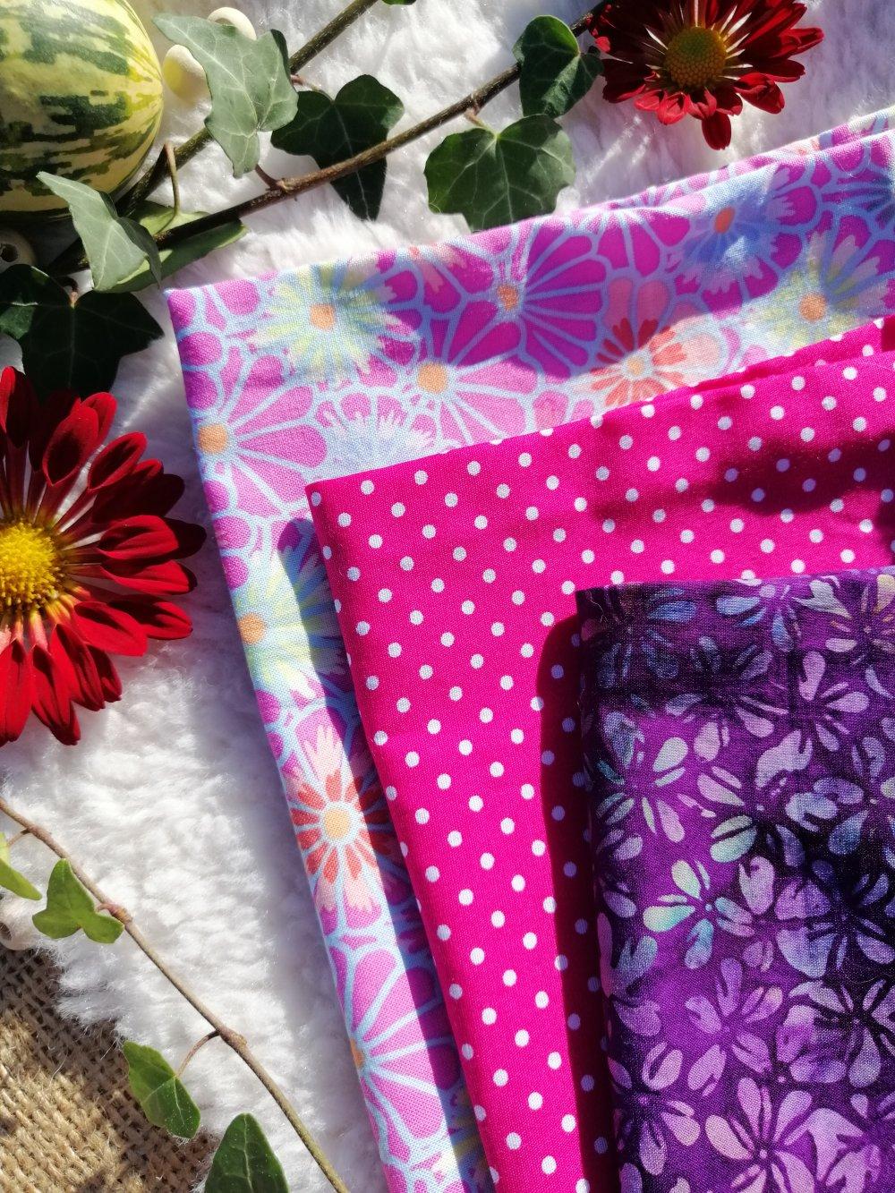 Lot de 3 sacs à vrac zéro déchet de 3 tailles rose et violet