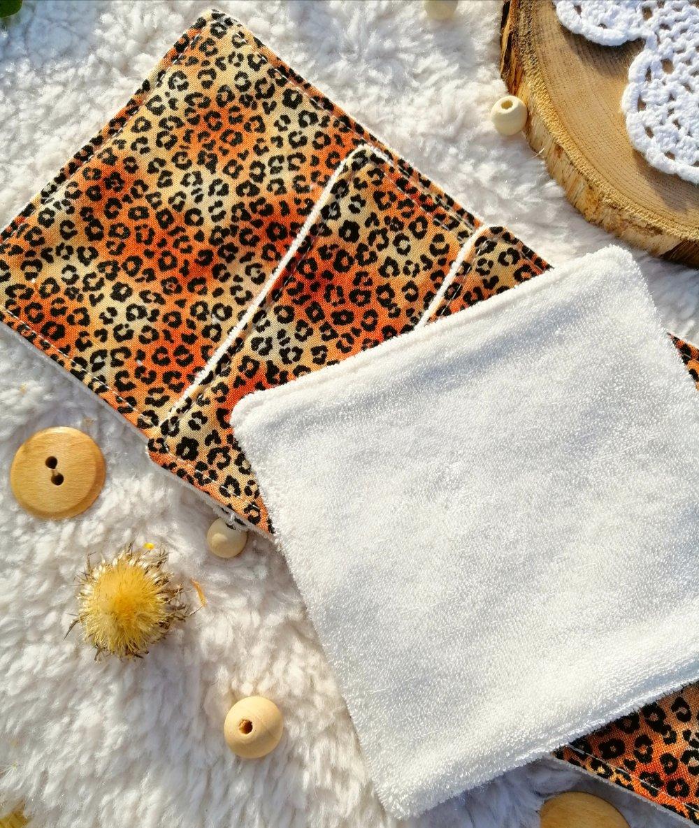 Lot de cotons lavables zéro déchet léopard