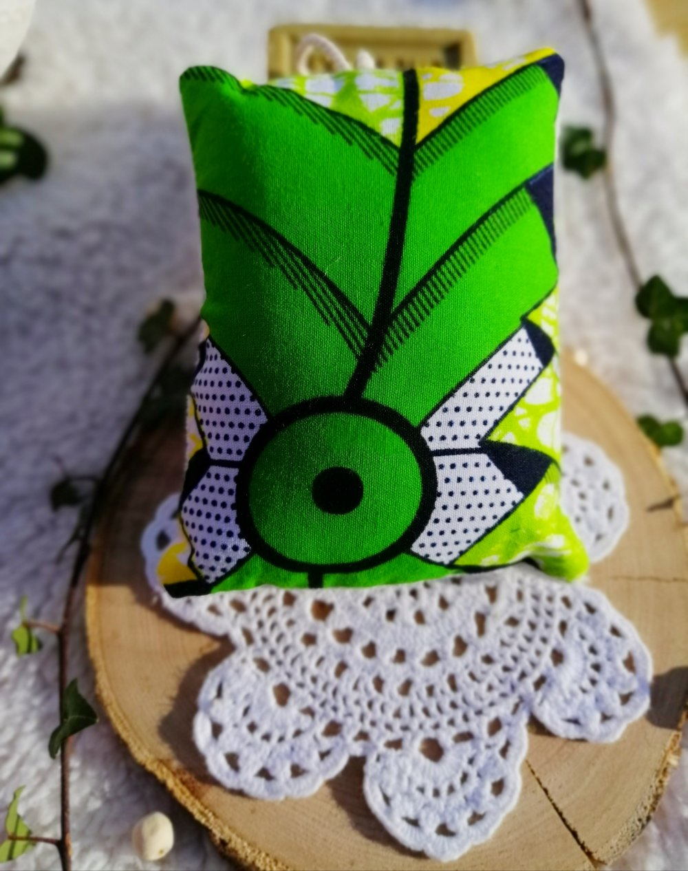 Eponge lavable en wax vert et jaune et micro éponge de bambou bio