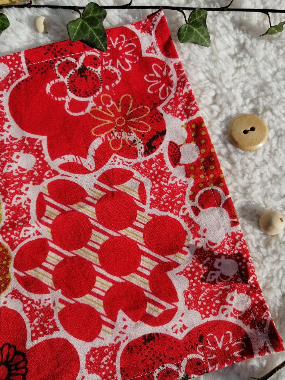 Lot de mouchoirs lavables zéro déchet & upcycling mix rouge et fleurs