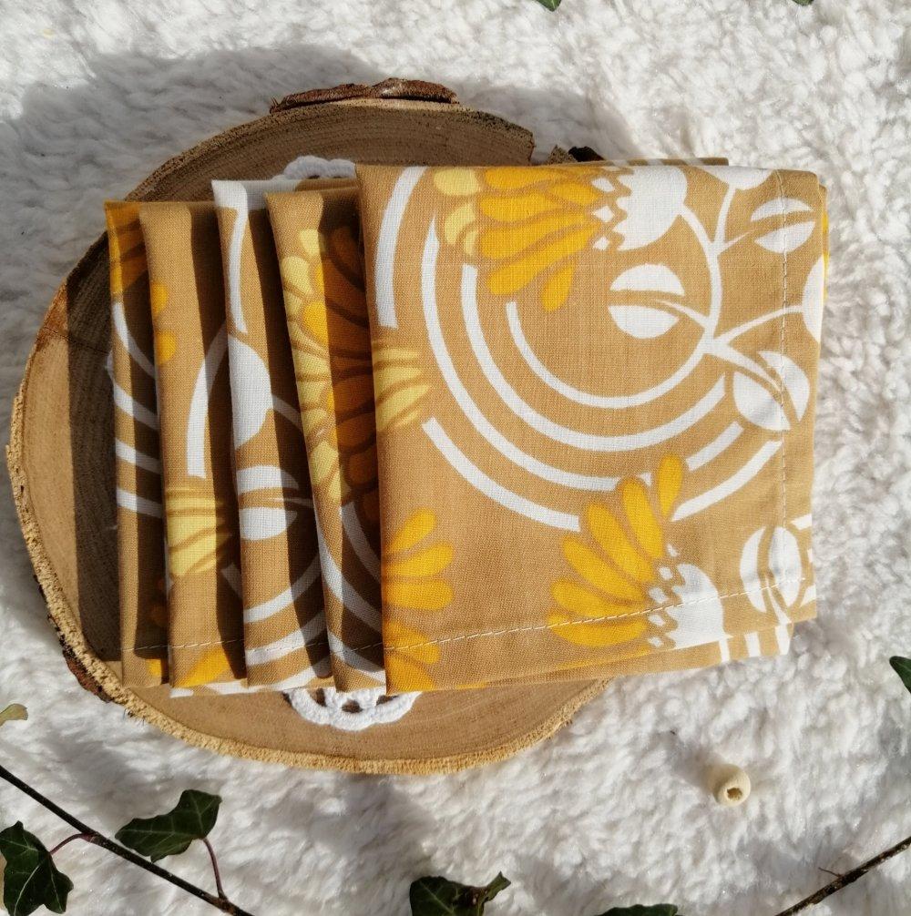 Lot de mouchoirs lavables zéro déchet & upcycling fleurs jaune et marron