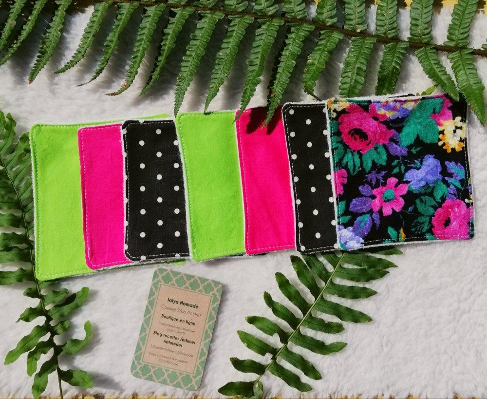 Lot de cotons lavables zéro déchet & upcycling fushia / vert / motif floral