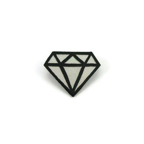 Broche Gros Diamant Graphique Irisé Et Noir Broche Brillante Aux Reflets Arc En Ciel Broche Fantaisie En Plastique Peint Cd Recyclé