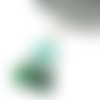 Boucles d'oreilles pierre de gemme azurite vert-bleuté ornées de coupelles et perles argent
