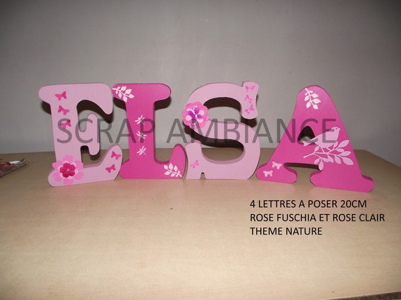 lettre en bois, prénom à poser, lettre à poser personnalisé NATURE 20cm