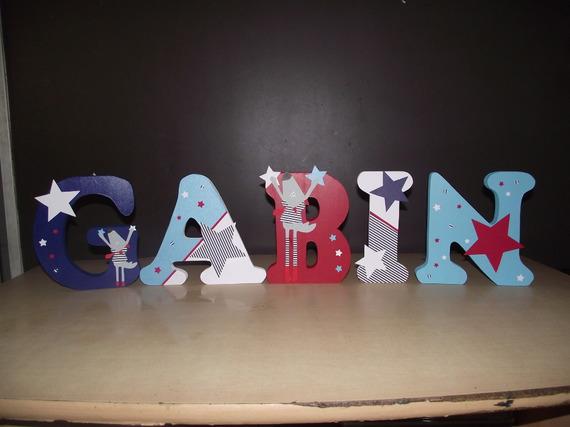 lettre en bois, prénom en bois, lettre à poser personnalisé thème MISTER BOUH 20cm de hauteur