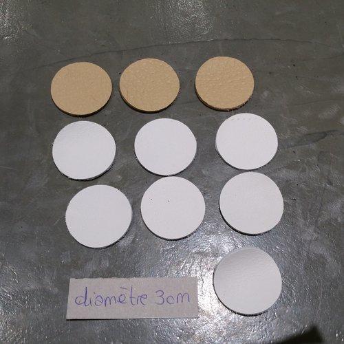 Découpes rond en cuir x 10