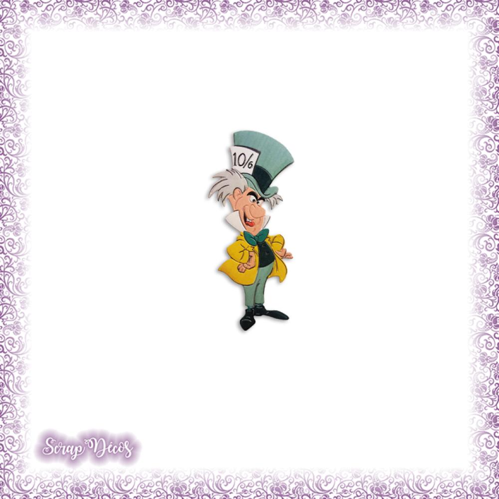 Découpe Le chapelier fou Alice au Pays des Merveilles magie conte en couleurs, embellissement (Ref.1848)