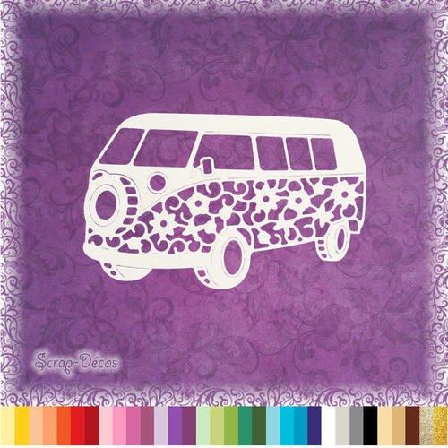 """Découpe scrapbooking """"van, combi, voyage, camping, vacances"""" embellissement die cut 32 couleurs disponibles (ref.0524)"""