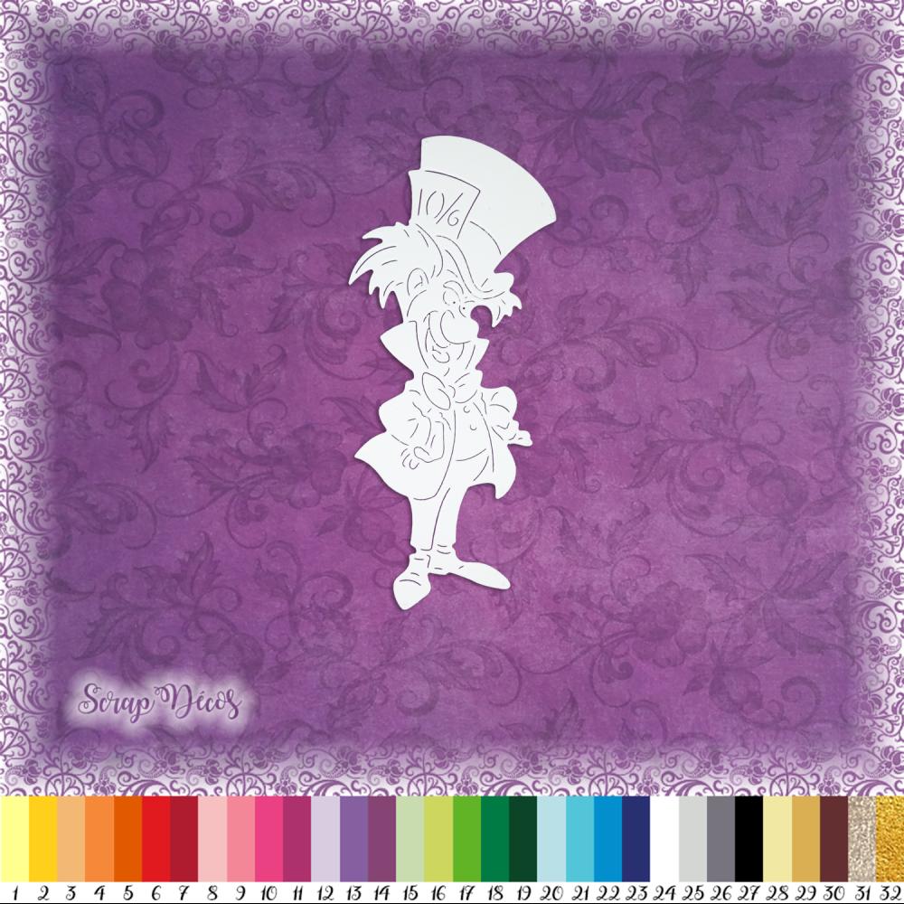 Découpe scrapbooking Le chapelier fou Alice au Pays des Merveilles magie conte embellissement découpe papier scrap (Ref.1741)