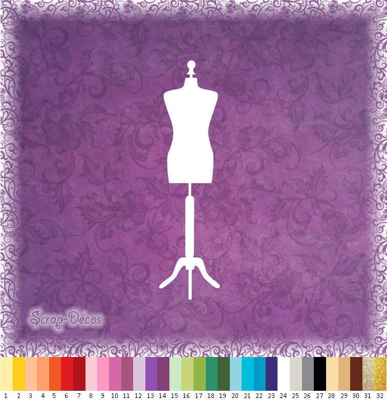 """Découpe scrapbooking """"Mannequin couture"""" embellissement die cut 32 couleurs disponibles (Ref.0502)"""