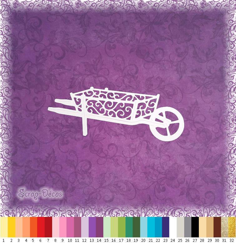 """Découpe scrapbooking """"Brouette, jardin, fleur, campagne,"""" embellissement die cut 32 couleurs disponibles (Ref.0472)"""