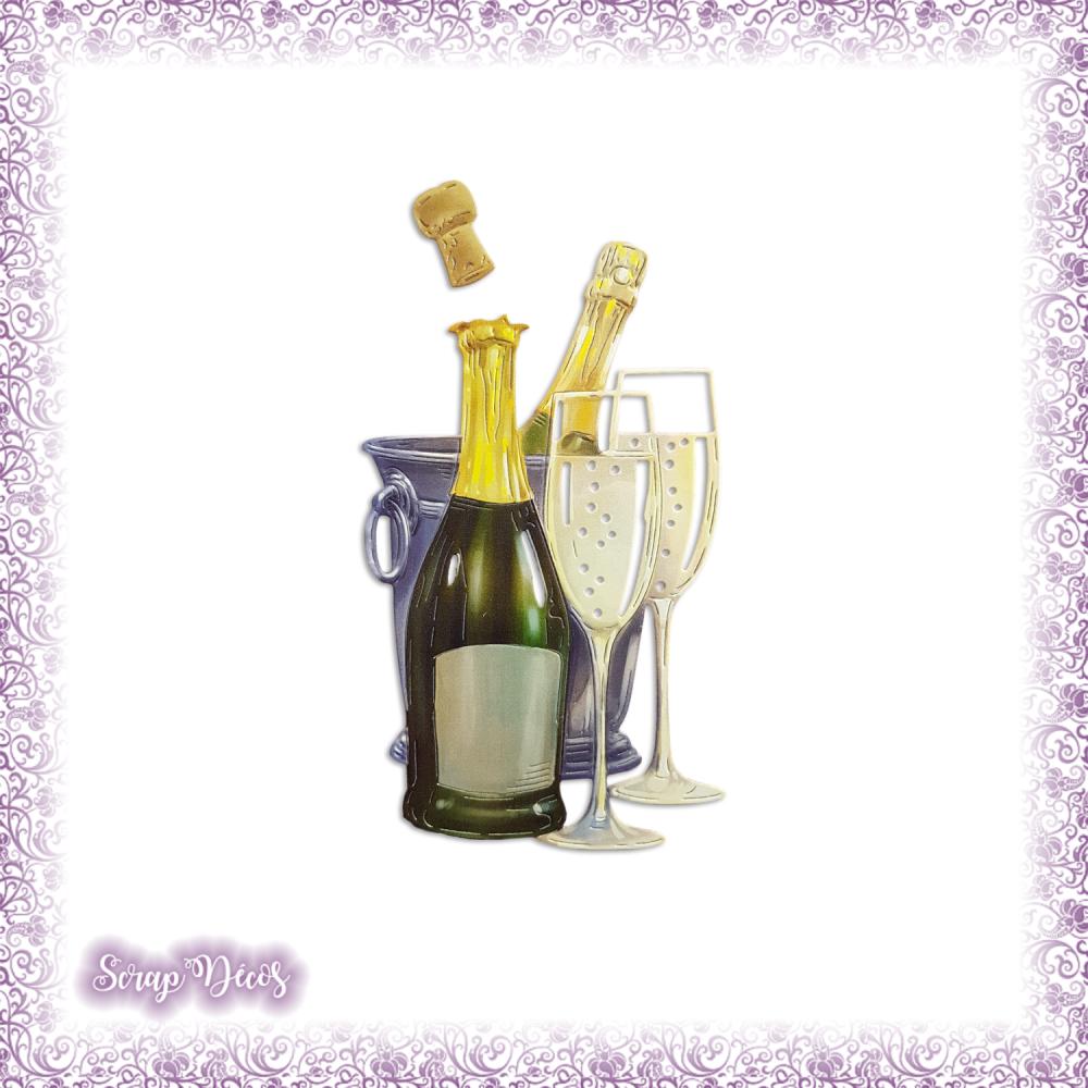 Découpe scrapbooking Champagne, seau, bouchon, fêtes, anniversaire, Noël, bouteille en couleurs embellissement die cut (Ref.2591)