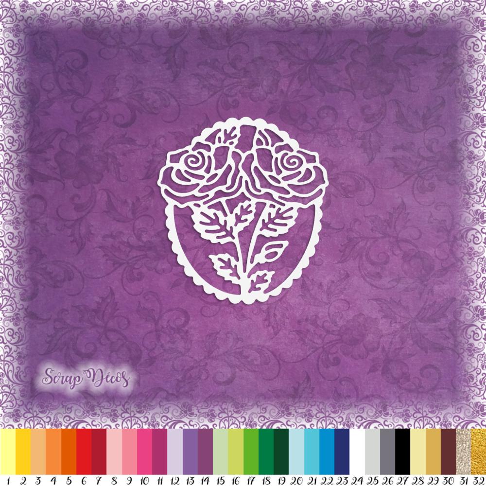 Découpe scrapbooking Bouquet roses, fleur, jardin, printemps, été, parfum, amour embellissement die cut découpe papier scrap (Ref.2598)