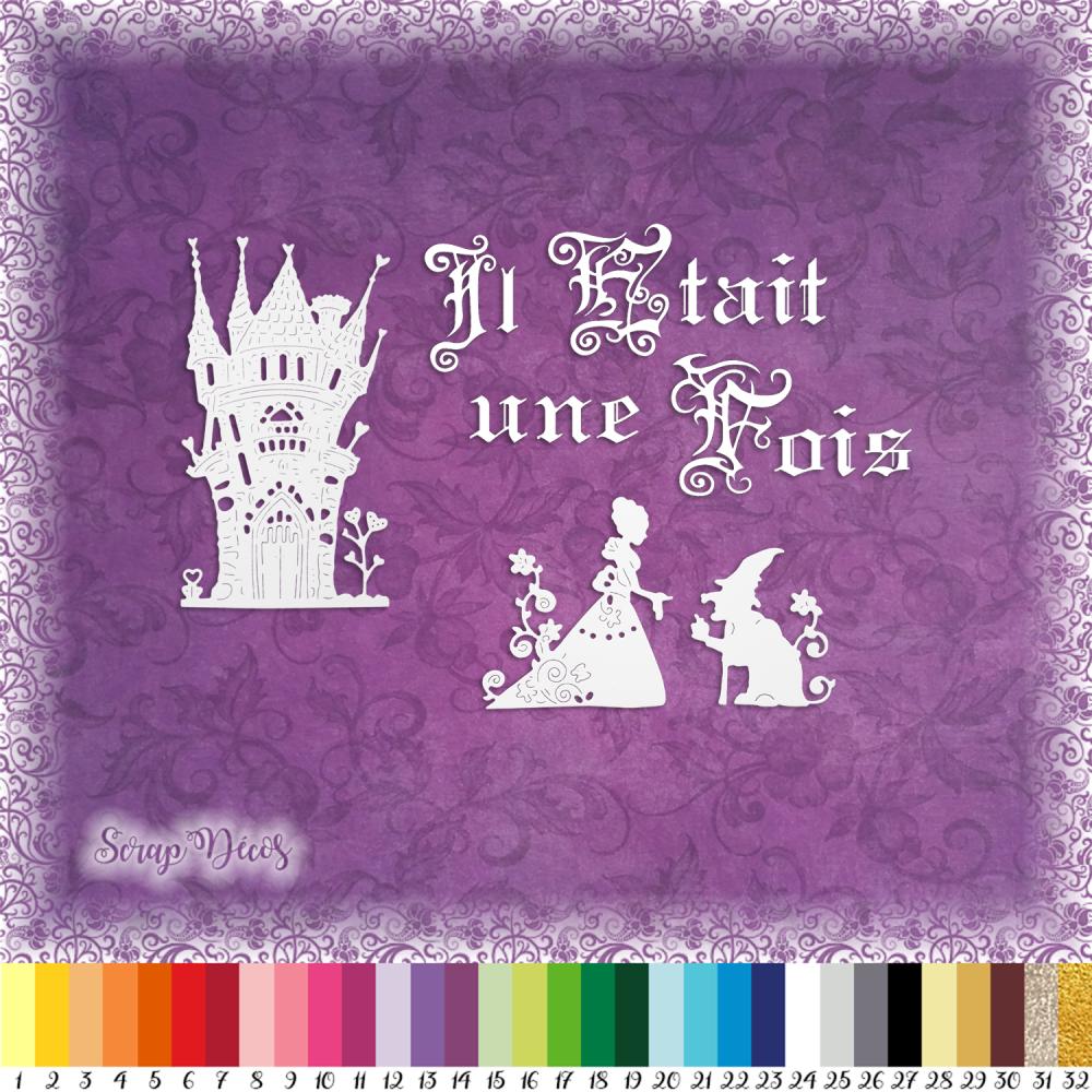 Lot 4 découpes scrapbooking Il était une fois princesse sorcière château conte de fées embellissement découpe papier scrap (Ref.L343)