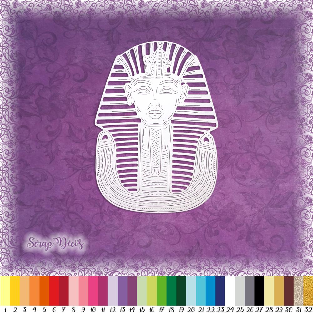 Découpe scrapbooking Toutankhamon, pharaon, masque, or, Egypte, pyramides, voyage, Afrique, musée, roi découpe papier scrap (Ref.2619)