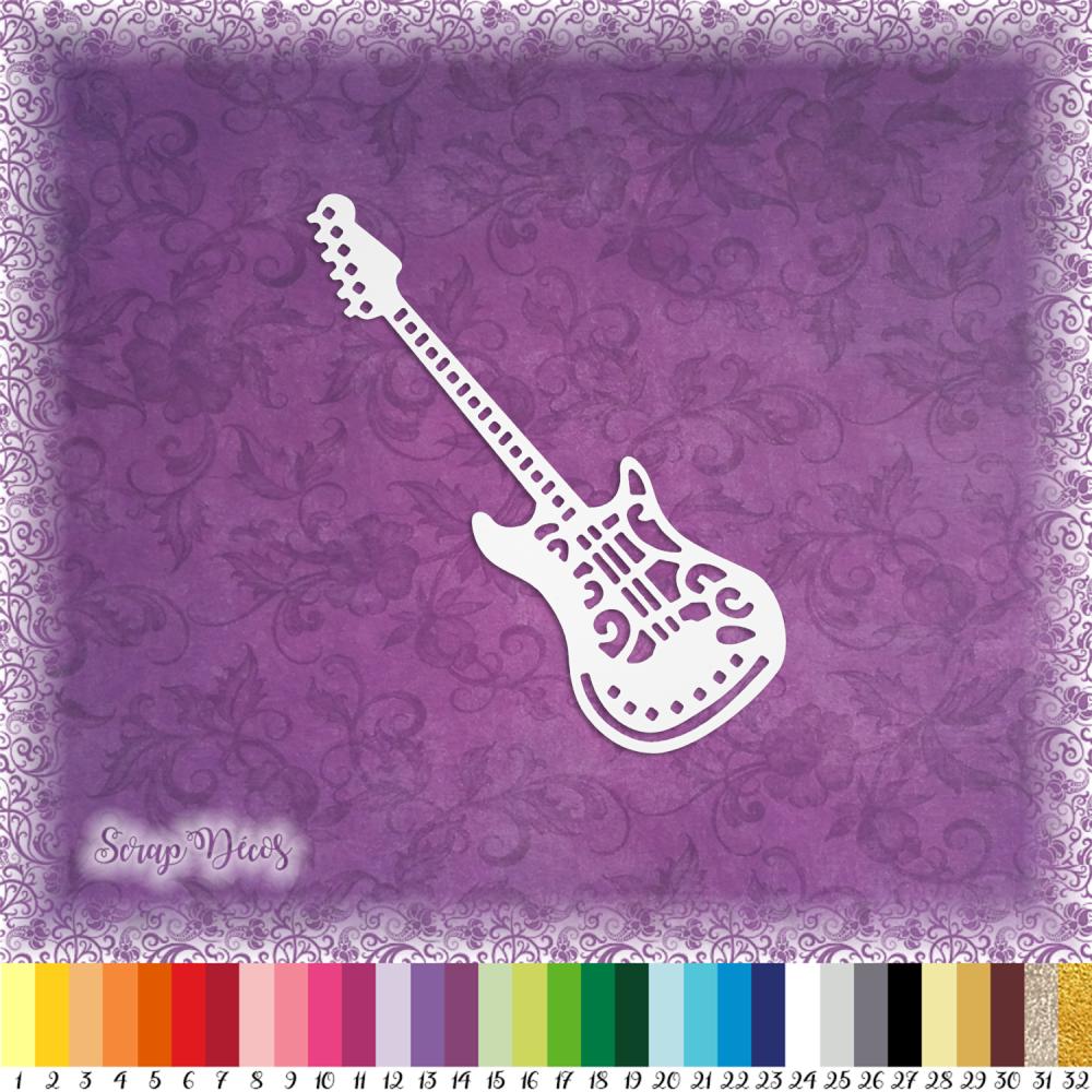 Découpe scrapbooking Guitare électrique, instrument, musique, concert embellissement die cut  découpe papier scrap (Ref.2596)