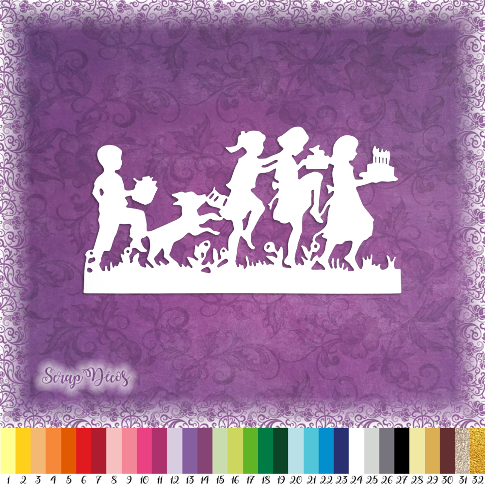 Découpe scrapbooking Enfants jeu danse gâteau anniversaire fête fille garçon nature embellissement die découpe papier scrap (Ref.2665)
