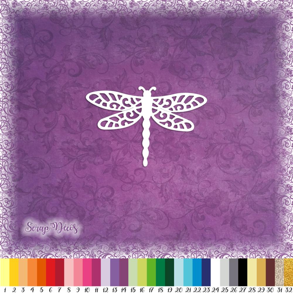 Découpe scrapbooking Libellule dentelle, insecte, animal, nature embellissement die cut découpe papier scrap (Ref.2668)