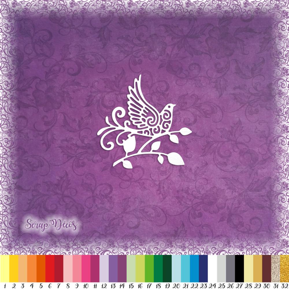 Découpe scrapbooking Oiseau, branche, feuilles, fleur, jardin, mariage, animal embellissement die cut découpe papier scrap (Ref.2675)