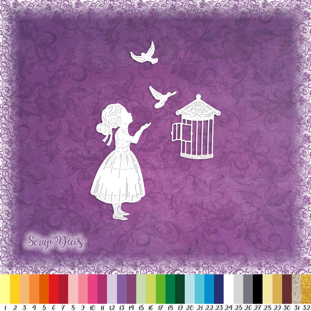 Découpes scrapbooking fille, cage, oiseaux, animaux, enfant, nature, colombes embellissement die découpe papier scrap (Ref.2666)