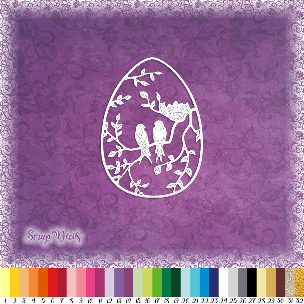 Découpe scrapbooking Oeuf de Pâques, oiseaux, branches, arbre, feuilles embellissement die cut découpe papier scrap (Ref.2669)