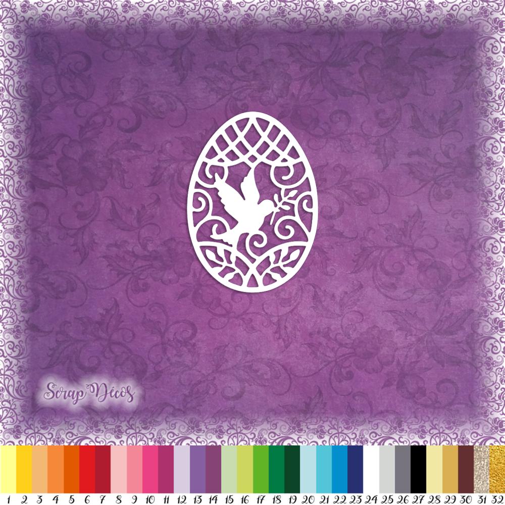 Découpe scrapbooking Oeuf Pâques colombe chocolat fête religion printemps oiseau embellissement die cut découpe papier scrap (Ref.2720)