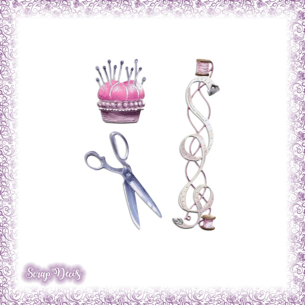 Découpes scrapbooking Accessoires couture fil ciseaux aiguilles ruban création en couleurs embellissement die cut papier scrap (Ref.2765)