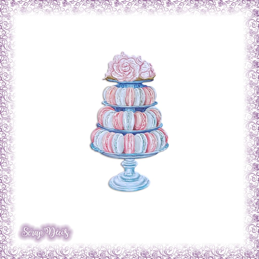 Découpe scrapbooking Macarons crème gâteaux dessert pâtisserie fruits en couleurs (Ref.3555)