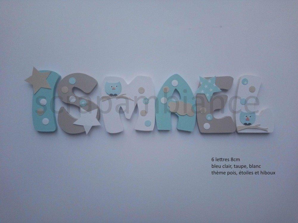 prénom en bois / plaque de porte / lettres en bois personnalisé. haut: 8cm thème ETOILES