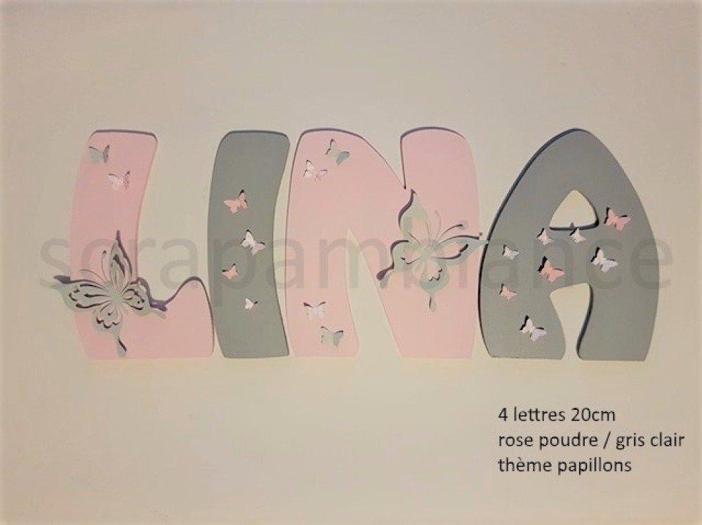 lettre prénom en bois ; plaque de porte, lettre en bois personnalisé : PAPILLONS 20cm à coller