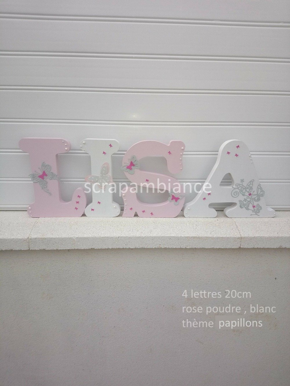 lettre en bois, prénom à poser, lettre à poser personnalisé Papillons 20cm