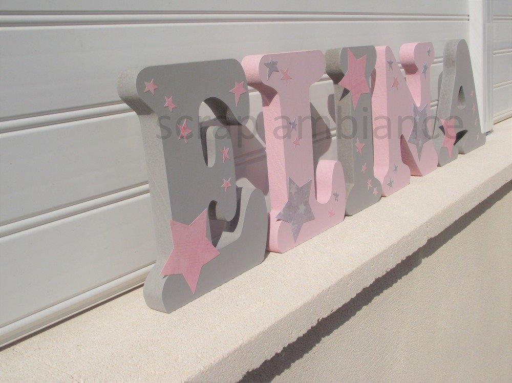 lettre en bois, prénom à poser, lettre à poser personnalisé ETOILES 20cm