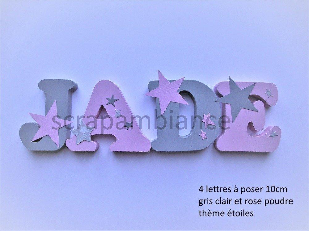 lettres prénom en bois , lettre à poser, prénom en bois , personnalisé hauteur ETOILES 10cm