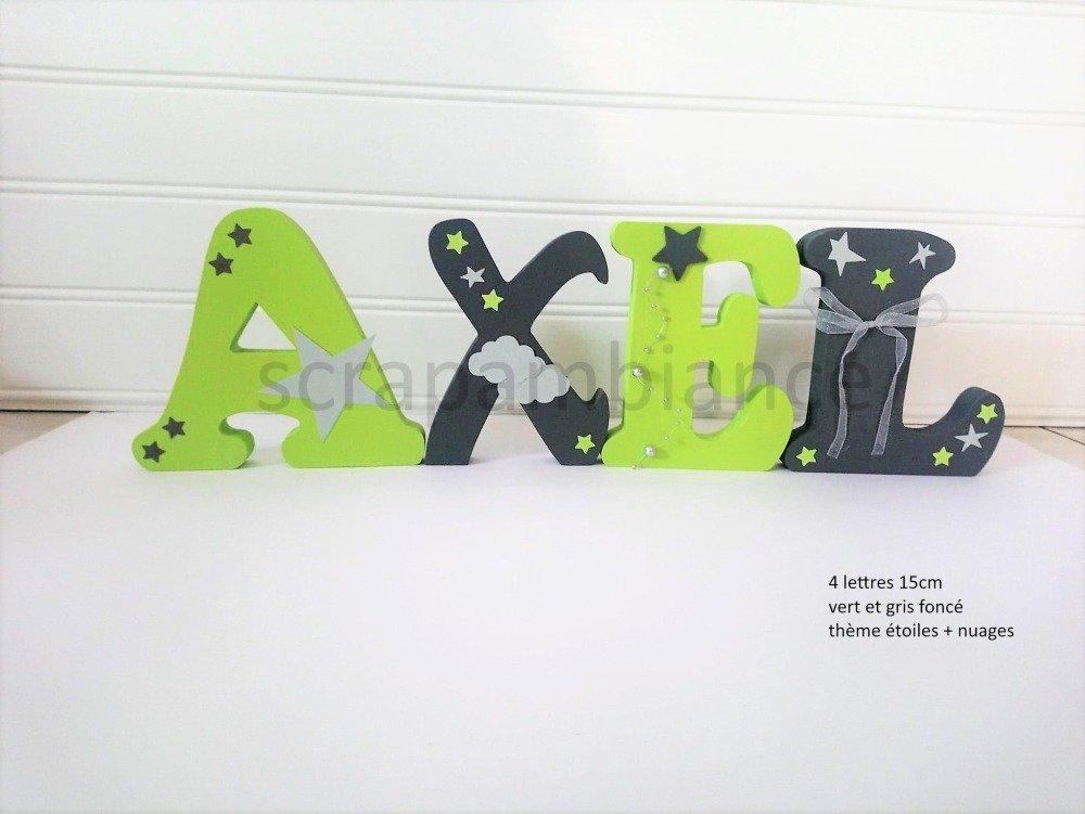lettre prénom en bois, décoration chambre, prénom en bois,  lettre à poser personnalisé  ETOILES 15cm