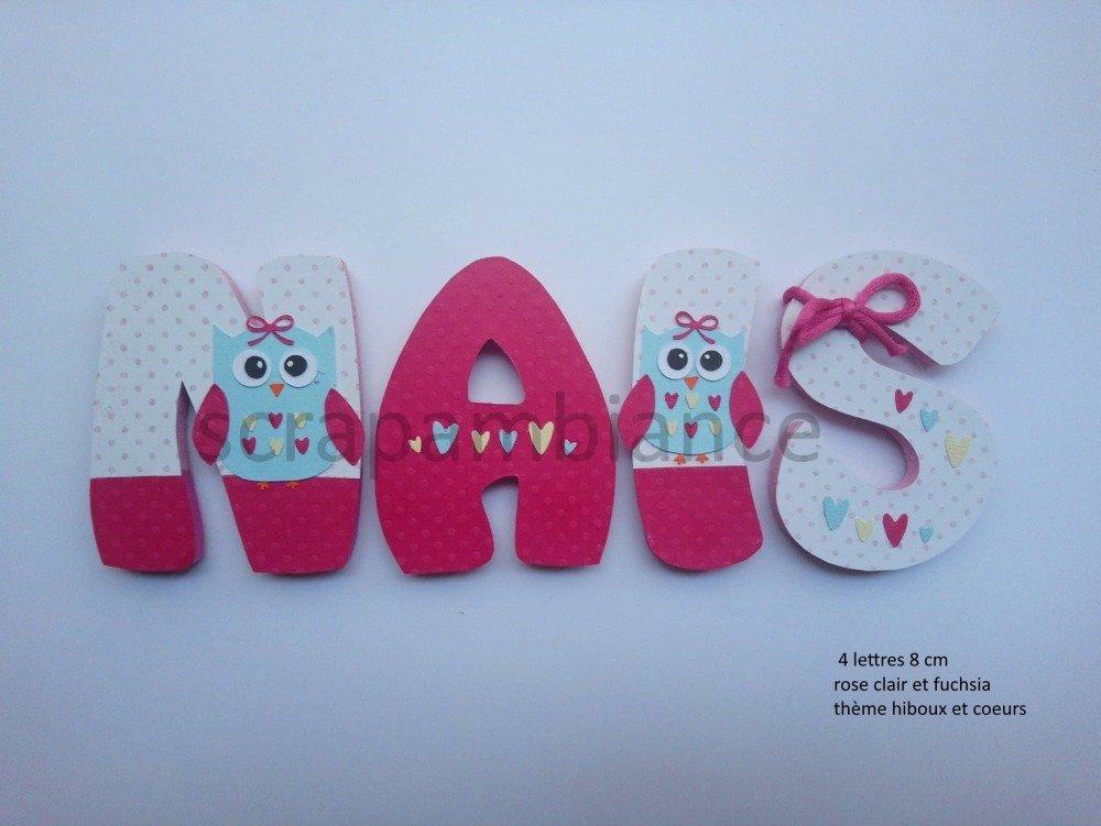 lettre prénom en bois / décoration chambre bébé / lettres en bois personnalisé  8cm  thème HIBOUX ET COEURS
