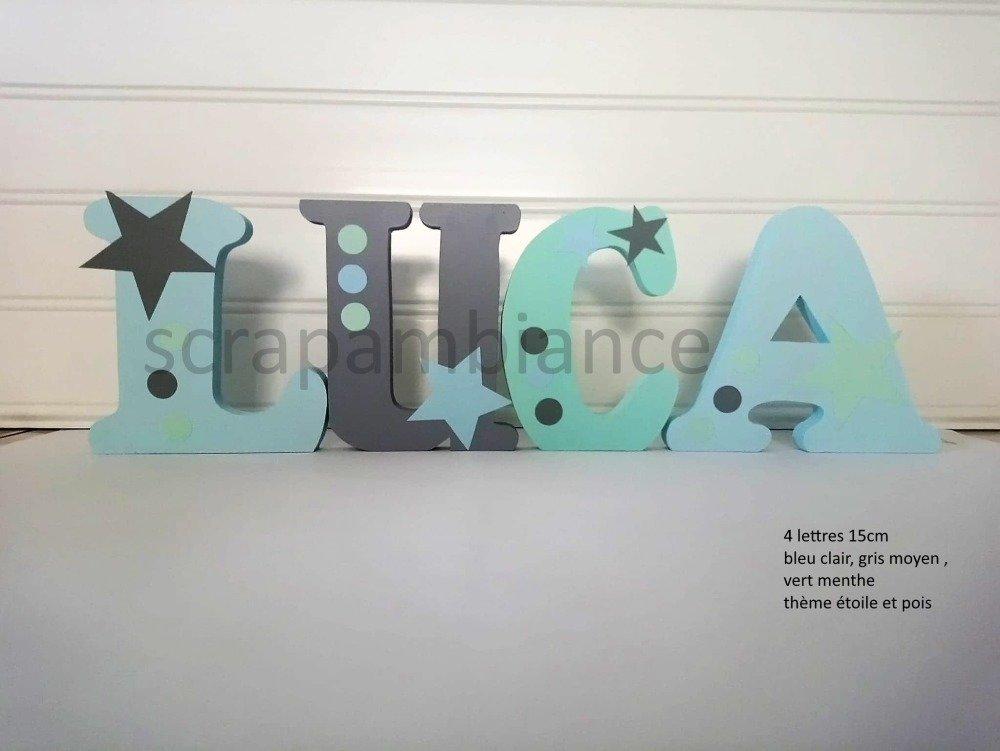 prénom en bois, lettre décorative, prénom à poser, lettre à poser personnalisé  ETOILES ET POIS